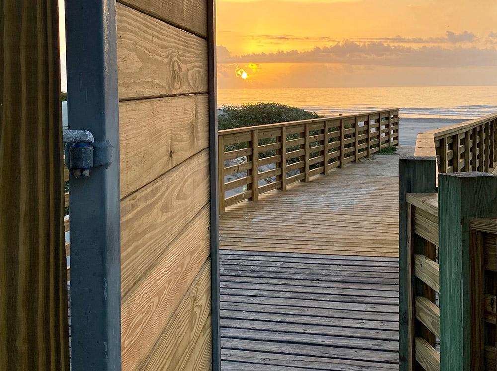 Lively Beach boardwalk beach gate
