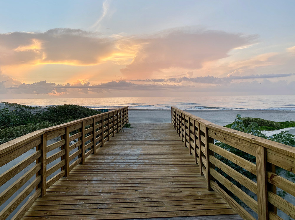 Lively Beach boardwalk to beach