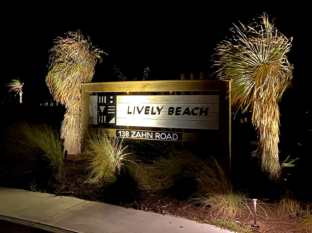 Lively Beach entrance sign