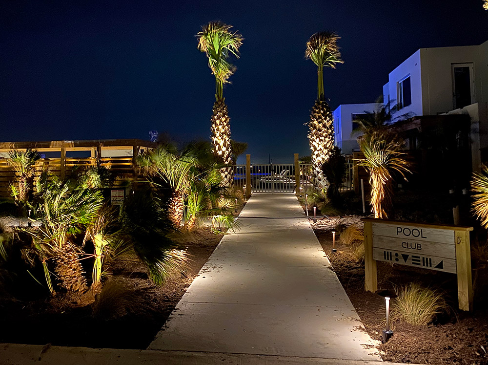Lively Beach pool entrance at night