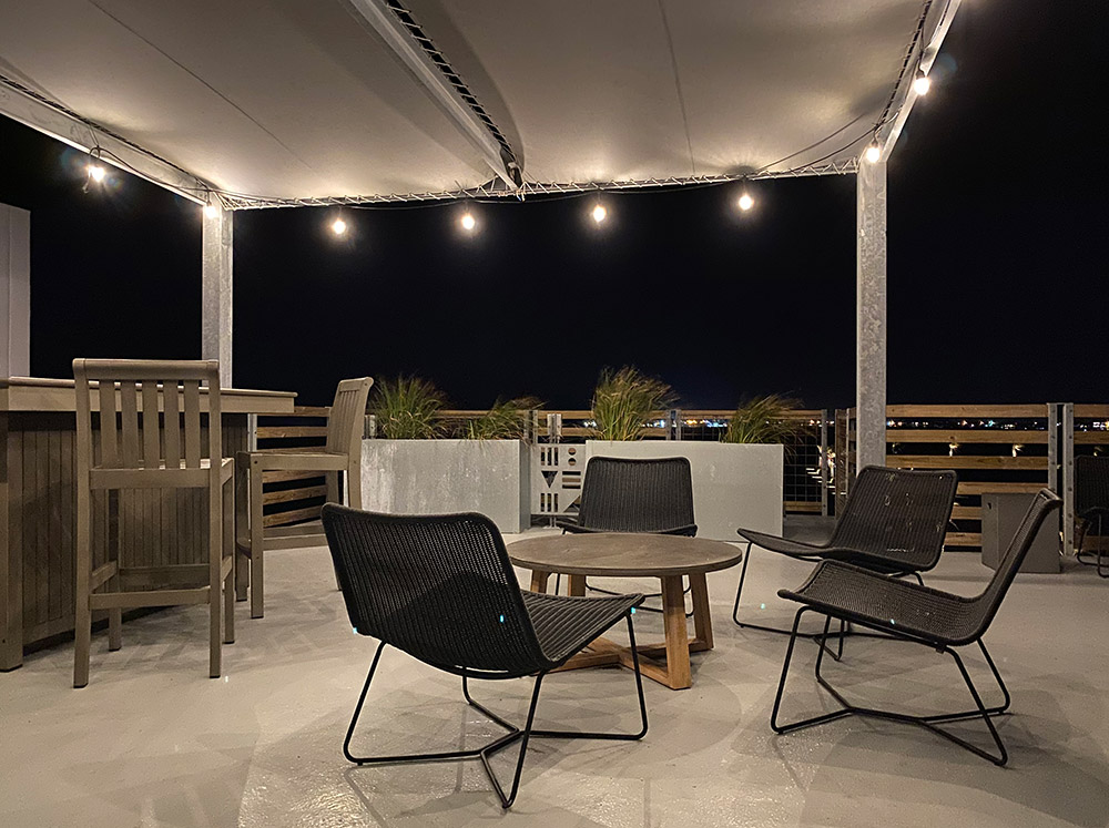 Lively Beach Surfrider rooftop at night